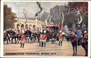Künstler Ak Benesch, C., Wien 1. Innere Stadt, Eucharisten Kongress 1912, Kaiser Franz Joseph I.