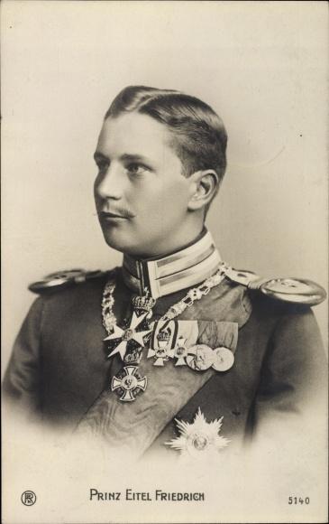 Ak Eitel Friedrich Prinz von Preußen, Portrait in Uniform, Orden