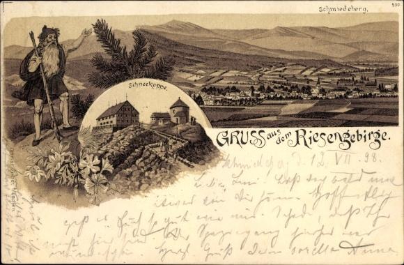 Litho Kowary Schmiedeberg im Riesengebirge Schlesien, Panorama, Schneekoppe, Rübezahl
