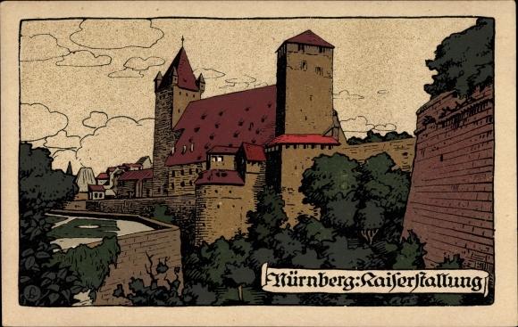 Steindruck Ak Nürnberg in Mittelfranken Bayern, Ansicht von der Kaiserstallung