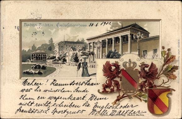 Präge Wappen Passepartout Litho Baden Baden im Stadtkreis Baden Württemberg, Konversationshaus