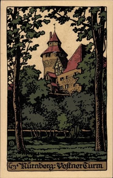 Steindruck Ak Nürnberg in Mittelfranken Bayern, Blick durch Bäume auf den Vestner Turm