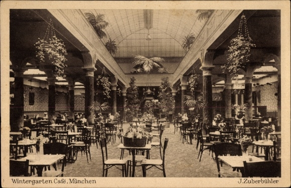 27462 ak m nchen zuberb hlers wintergarten cafe theatiner str 1920 nr hp27462 oldthing. Black Bedroom Furniture Sets. Home Design Ideas
