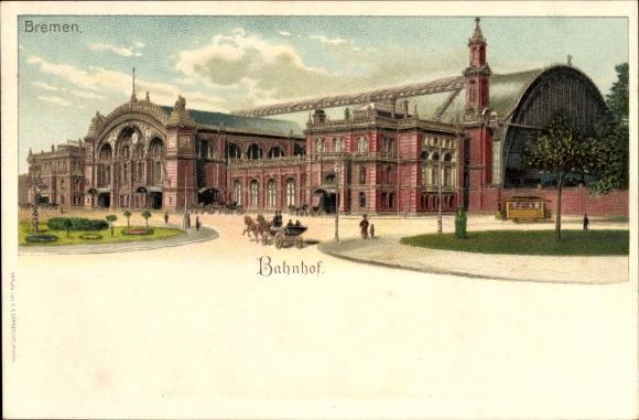 Litho Hansestadt Bremen, Blick auf den Bahnhof, Vorplatz mit Kutsche und Reisenden, Bahnwaggon