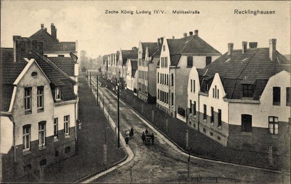 Ak Recklinghausen im Ruhrgebiet, Zeche König Ludwig IV/V, Moltkestraße, Wohnhäuser