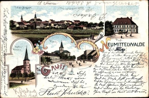 Litho Międzybórz Neumittelwalde Schlesien, Totalansicht, Post, Kath. Kirche, Ring