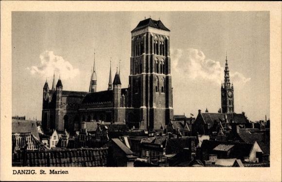 Ak Gdańsk Danzig, Blick auf die St. Marien Kirche, Teilansicht der Stadt