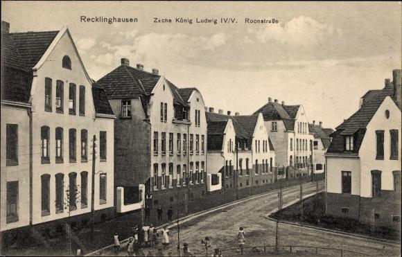 Ak Recklinghausen im Ruhrgebiet, Zeche König Ludwig IV/V, Roonstraße, Wohnhäuser