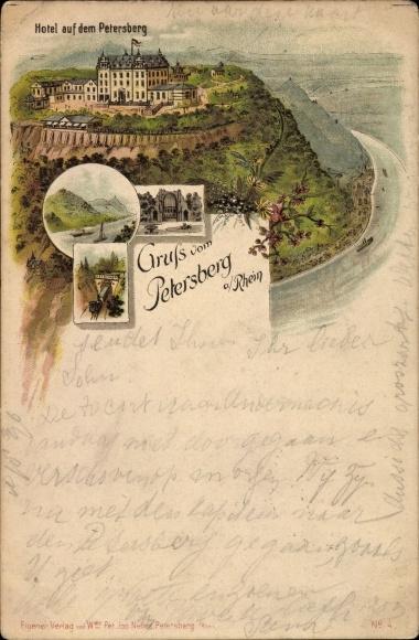 Litho Königswinter im Rhein Sieg Kreis, Gruss vom Petersberg, Hotel Ruine, Lok durch Tunnel