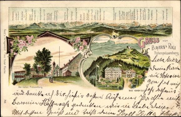 Litho Hohenpeißenberg in Bayern, Am Hohen Peissenberg, Bad Hihen Sulz, Berge