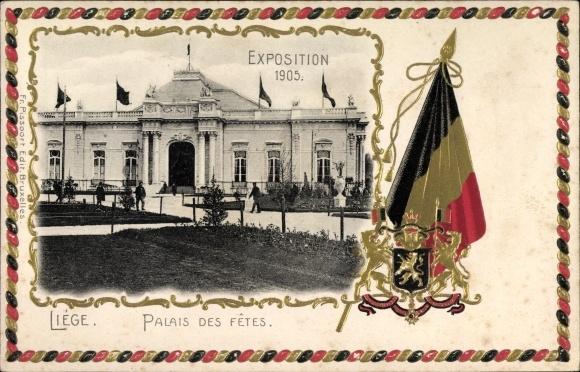 Präge Wappen Passepartout Ak Liège Lüttich Wallonien, Expo 1905, Palais des Fêtes