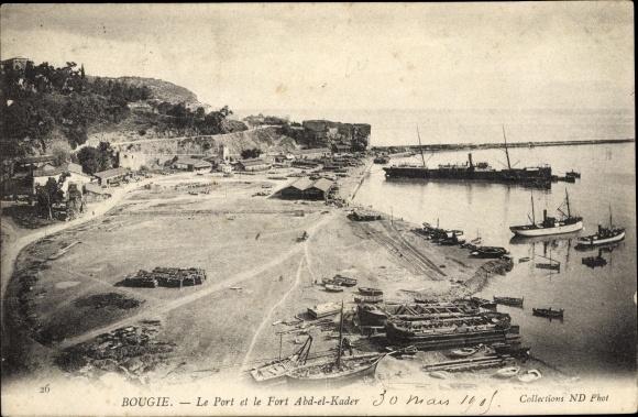 Ak Bougie Bejaia Algerien, Le Port et le Fort Abd el Kader