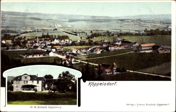 Ak Köppelsdorf Sonneberg in Thüringen, Totalansicht vom Ort, Dr. W. Balser's Sanatorium