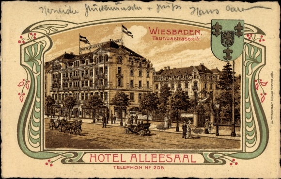 Jugendstil Wappen Litho Wiesbaden in Hessen, Hotel Alleesaal, Taunusstraße 3