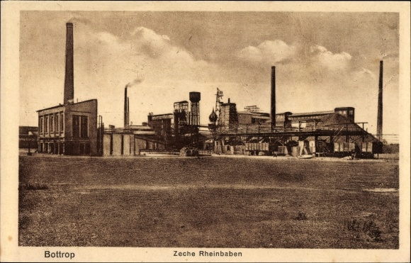 Ak Bottrop im Ruhrgebiet Nordrhein Westfalen, Zeche Rheinbaben, Gesamtansicht