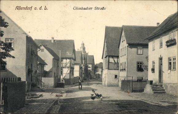 Ak Allendorf an der Lumda in Hessen, Climbacher Straße, Wohnhäuser, Hühner