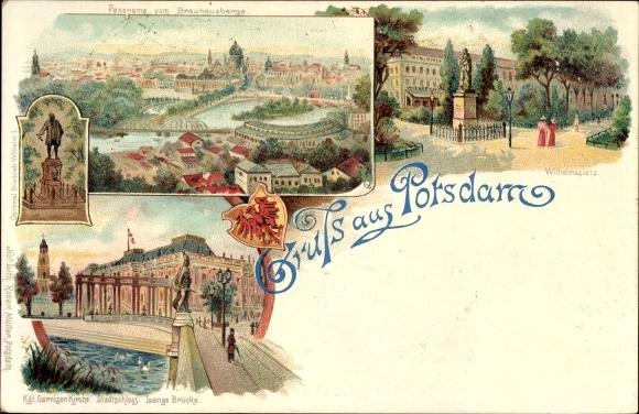 Litho Potsdam in Brandenburg, Stadtpanorama, Garnisonskirche, Wilhelmsplatz