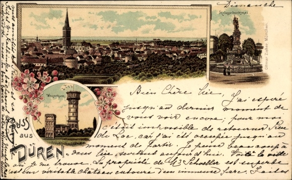 Litho Düren in Nordrhein Westfalen, Stadtansichten, Denkmal, Wasserturm, Panorama