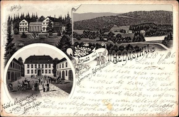 Litho Wilhelmsthal Marksuhl Thüringen, Stadtansichten, Gasthof zum Auerhahn, Inh. H. Köhler, Schloss
