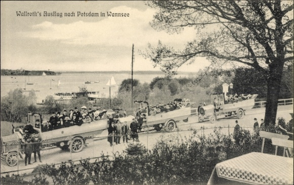 Ak Berlin Zehlendorf Wannsee, Wallroths Ausflug nach Potsdam, Autos mit Passagieren