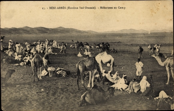 Ak Beni Abbes Algerien, Extreme Sud Oranais, Meharistes au Camp