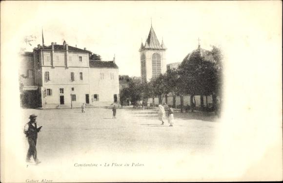 Ak Constantine Algerien, Vue de la Place du Palais