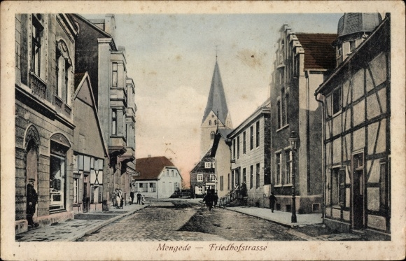 Ak Mengede Dortmund Nordrhein Westfalen, Friedhofstraße, Kirchturm