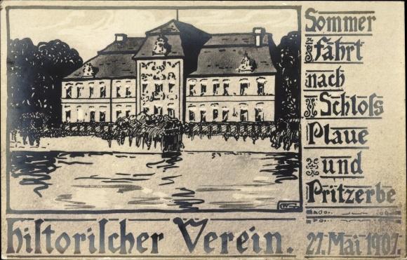 Ak Plaue Brandenburg an der Havel, Sommerfahrt nach Schloss und Pritzerbe, Historischer Verein, 1907