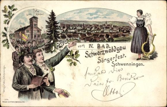 Litho Villingen Schwenningen im Schwarzwald, IV. Bad Schwarzwaldgau Sängerfest, Leier, Sänger