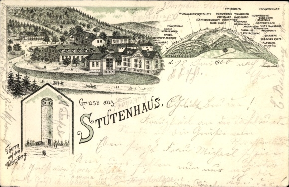 Litho Suhl in Thüringen, Stutenhaus, Turm auf dem Adlersberg, Wurzelberg, Frauenwald, Burgberg