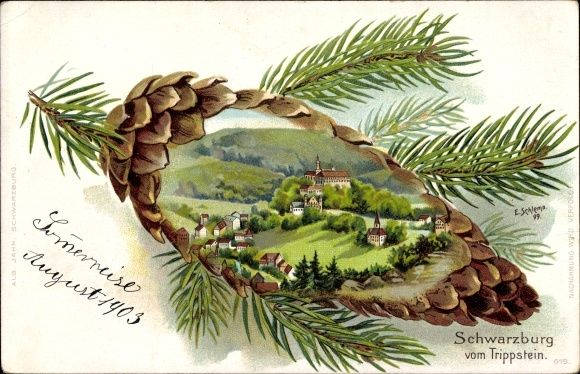 Tannenzapfen Künstler Litho Schlemo, E., Schwarzburg im Schwarzatal Thüringen, Blick vom Trippstein