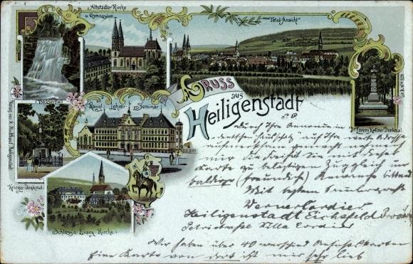 Litho Heilbad Heiligenstadt Eichsfeld Thüringen, Kirche, Gymnasium, Lehrerseminar, Denkmal, Schloss