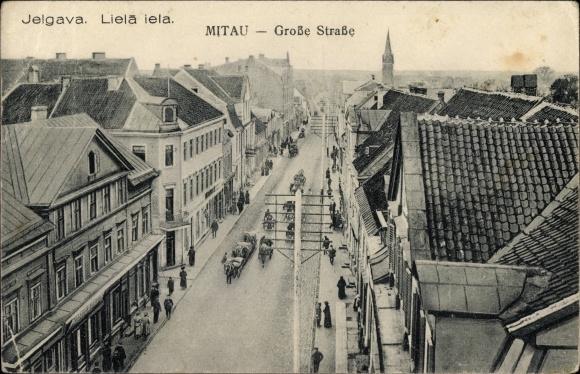 Ak Jelgava Mitau Lettland, Große Straße, Liela iela, Strommasten, Fuhrwerke