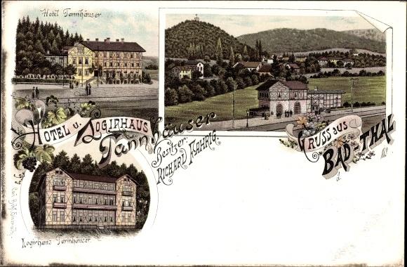 Litho Thal Ruhla im Wartburgkreis Thüringen, Hotel und Logirhaus Tannhäuser, Panorama vom Ort