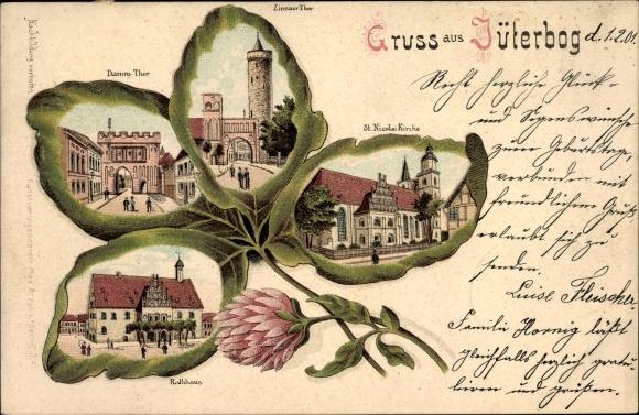 Kleeblatt Litho Jüterbog im Kreis Teltow Fläming, St. Nikolai Kirche, Rathaus, Zinnaer Tor, Dammtor