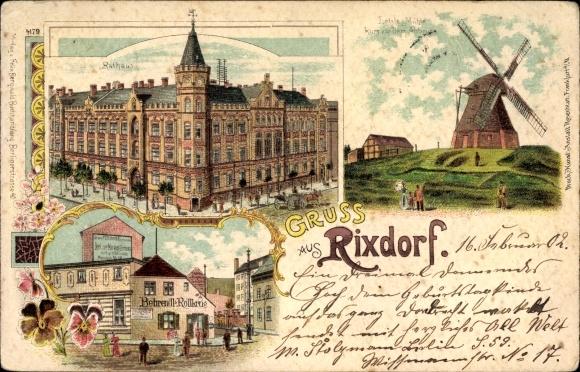 Litho Berlin Neukölln Rixdorf, Windmühle, Rathaus, Behrendl Rollkrug