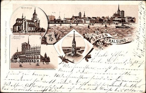 Wappen Litho Stralsund Mecklenburg Vorpommern, Nikolaikirche, Rathaus, Marienkirche, Kriegerdenkmal