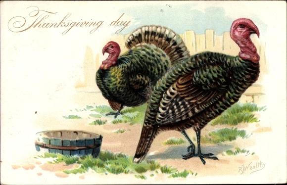 Präge Künstler Litho Wealthy, R., Thanksgiving, Erntedankfest, Truthahn, Tuck