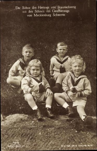 Ak Söhne des Herzogs von Braunschweig und Söhne des Großherzogs von Mecklenburg Schwerin, Liersch