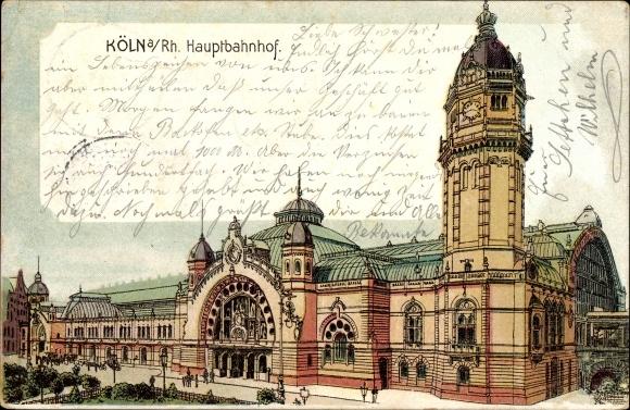 Litho Köln am Rhein, Blick auf den Hauptbahnhof, Straßenseite