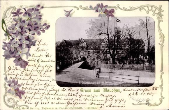 Passepartout Ak Glauchau an der Zwickauer Mulde in Sachsen, Gräfl. Schönb. Schloss Vorder Glauchau