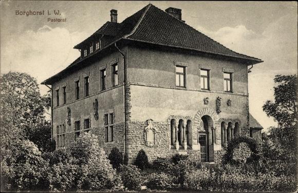 Ak Borghorst Steinfurt in Nordrhein Westfalen, Pastorat, Gartenansicht