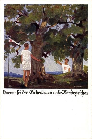 Künstler Ak Amtsberg, Deutscher Turnerbund, Darum sei der Eichenbaum unser Bundeszeichen