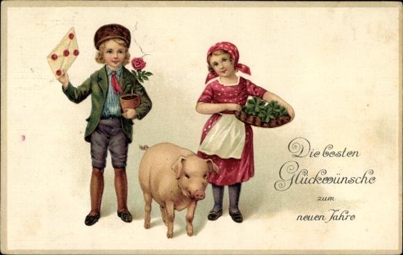 Präge Litho Glückwunsch Neujahr, Schwein, Junge und Mädchen mit Brief und Kleeblättern