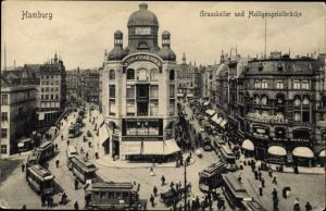 Ak Hamburg Mitte Altstadt, Blick auf Grasskeller und Heiligengeistbrücke, Restaurant, Inh. G. Bauer