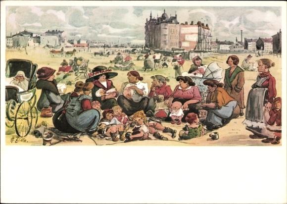 Künstler Ak Zille, Heinrich, Das Flaschenkind, Frauen mit ihren Kindern am Strand, Kinderwagen