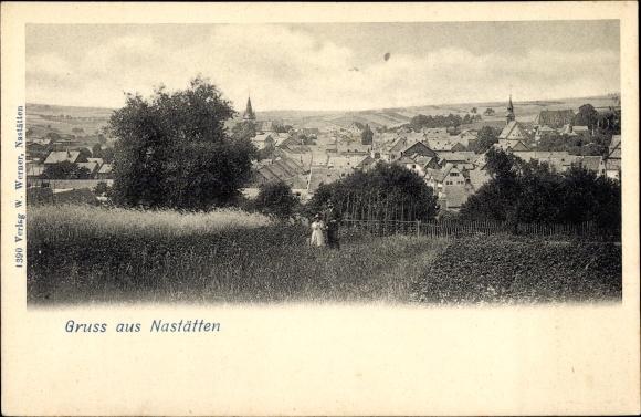 Ak Nastätten im Rhein Lahn Kreis, Blick auf den Ort mit Umgebung