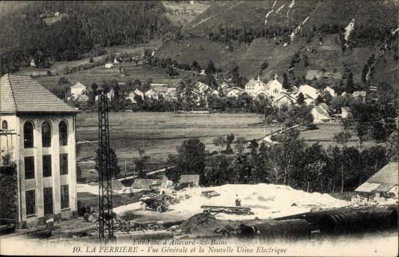 Ak La Ferrière Kt. Bern, Vue générale et la Nouvelle Usine Electrique