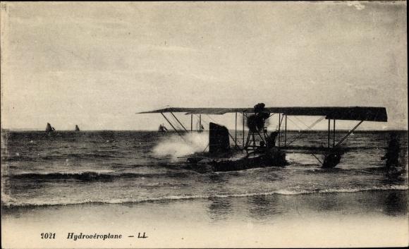 Ak Hydroaéroplane, Wasserflugzeug, Blick vom Ufer aus