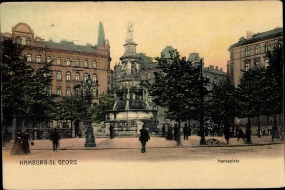 Ak Hamburg Mitte St. Georg, Partie auf dem Hansaplatz, Brunnen